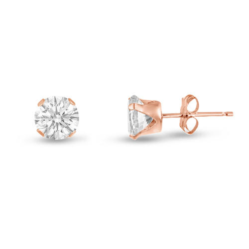 White CZ Round Stud Earrings in Rose Gold over Silver