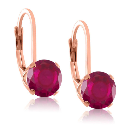 5mm Natural Gemstone Leverback Earrings in Rose Gold Plated Sterling Silver