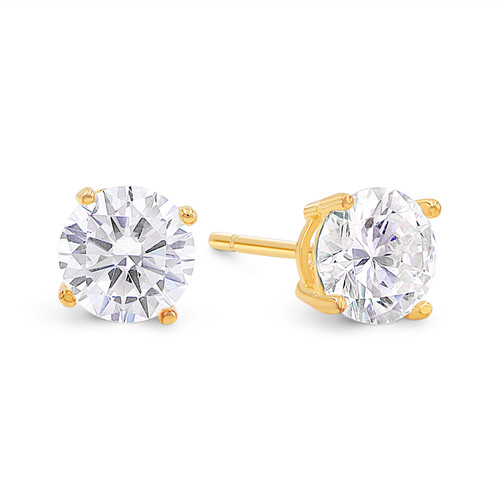 Cubic Zirconia Studs in Gold over Sterling Silver