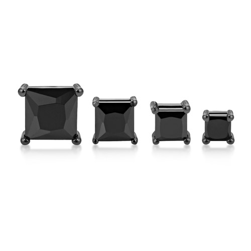 Black Rhodium Plated Sterling Silver Mens Womens Square Black CZ Stud Earrings