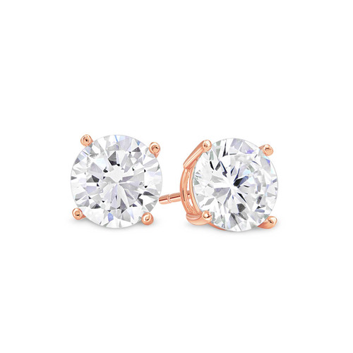 Rose Gold Plated Round Clear White Sterling Silver CZ Stud Earrings