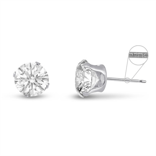 14K White Gold Round Genuine White Topaz Stud Earrings