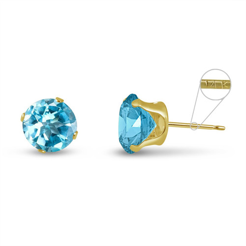 14K Yellow Gold Round Genuine Sky Blue Topaz Stud Earrings