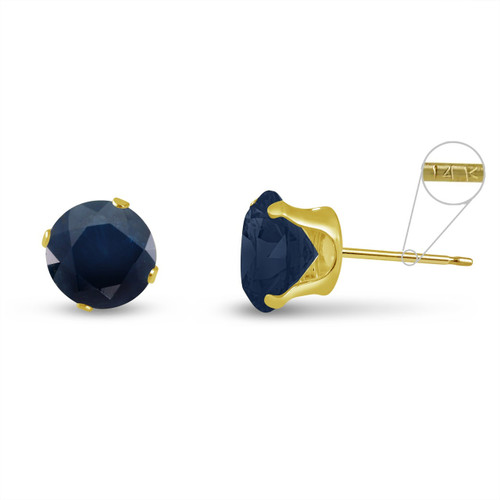 14K Yellow Gold Round Genuine Blue Sapphire Stud Earrings