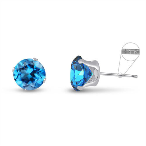 14K White Gold Round Genuine Swiss Blue Topaz Stud Earrings