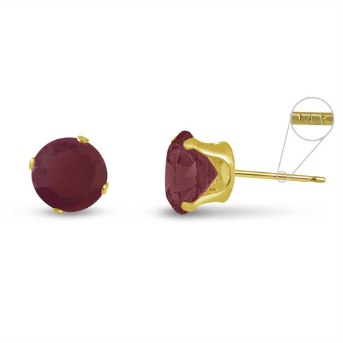 14K Yellow Gold Round Genuine Ruby Stud Earrings