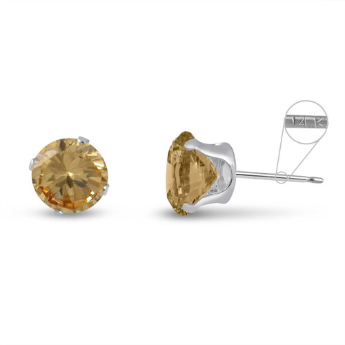 14K White Gold Round Genuine Citrine Stud Earrings