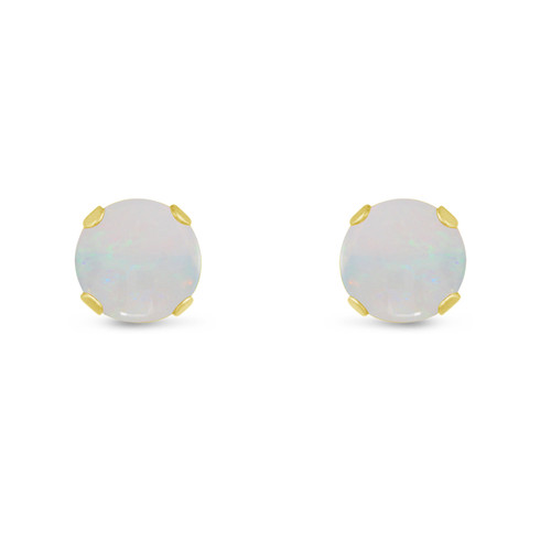 14K Yellow Gold Round Genuine Opal Stud Earrings