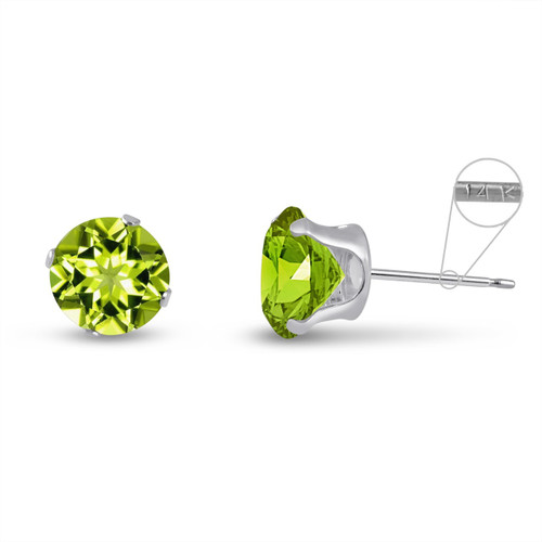 14K White Gold Round Genuine Peridot Stud Earrings
