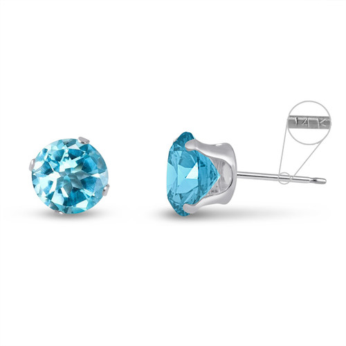 14K White Gold Round Genuine Sky Blue Topaz Stud Earrings
