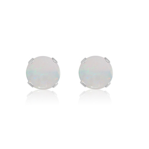 14K White Gold Round Genuine Opal Stud Earrings