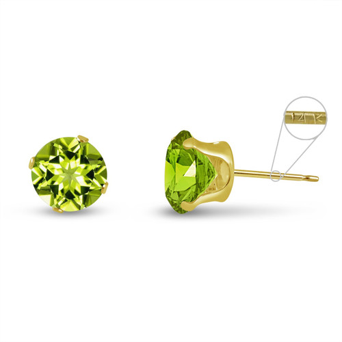 14K Yellow Gold Round Genuine Peridot Stud Earrings