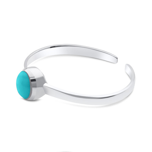 Round Turquoise Toe Ring Sterling Silver