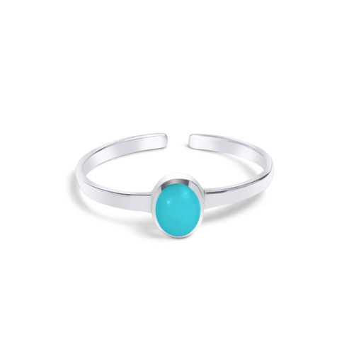 Oval Turquoise Toe Ring Sterling Silver