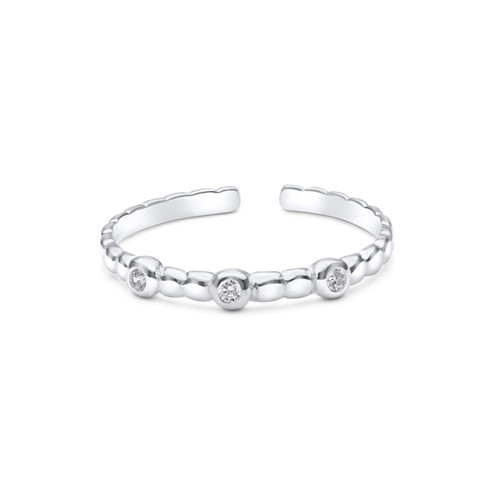 Cubic Zirconia Ribbed Toe Ring Sterling Silver