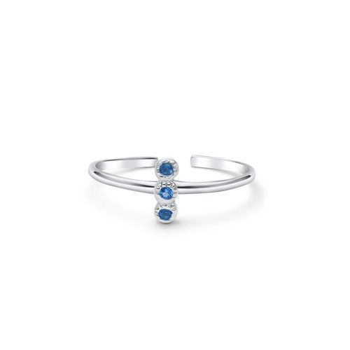 Simulated Blue Aquamarine Toe Ring Sterling Silver