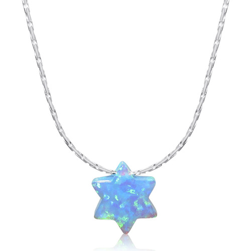 Opal Star of David Pendant Necklace