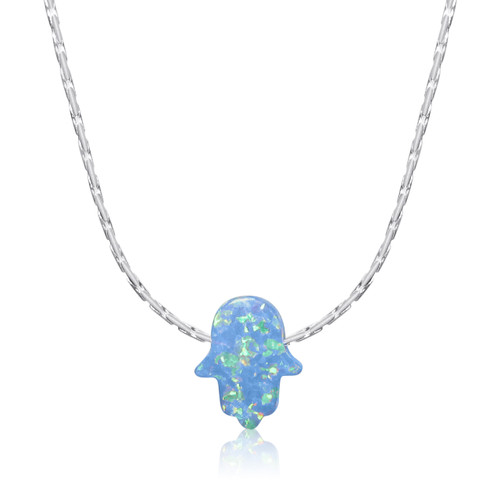 Opal Hamsa Small Hand Pendant Necklace