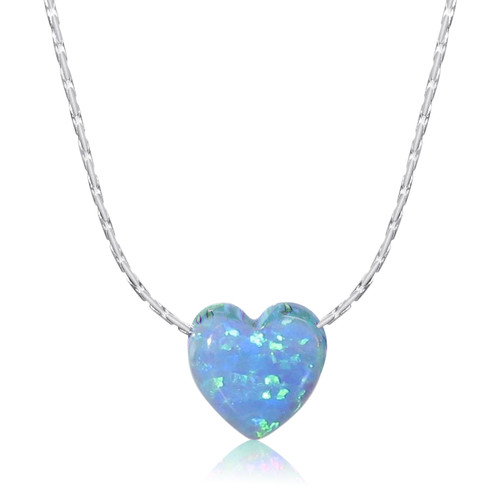 Opal Heart Pendant Necklace