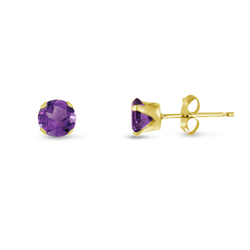 Violet Purple CZ Round Stud Earrings in Gold over Silver