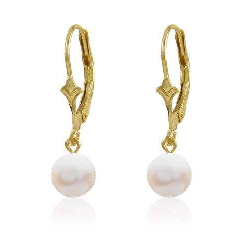 Genuine Freahwater Drop White Pearl Dangling from a 10k Gold Fleur De Lis Lever Back Earring