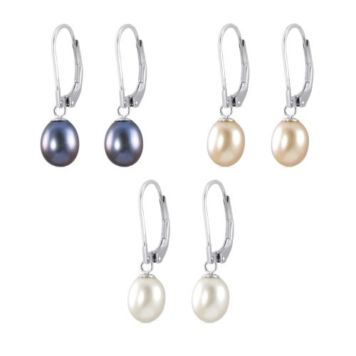 Genuine Sterling Silver Leverback Freshwater Pearls Drop Earrings