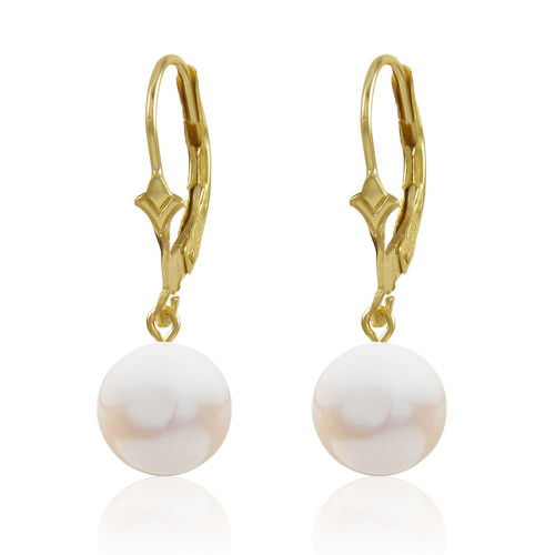 Pair of 8mm Genuine Freshwater Drop White Pearl Dangling from 10k Gold Fleur ...