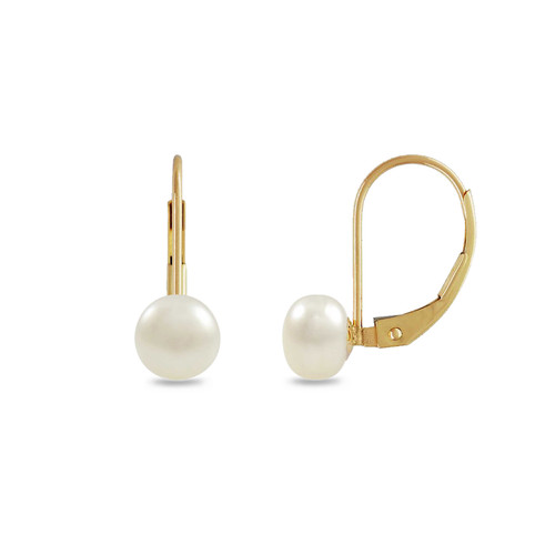 6mm Pink Freshwater Pearl Lever Back Earrings, Gold over Sterling Silver