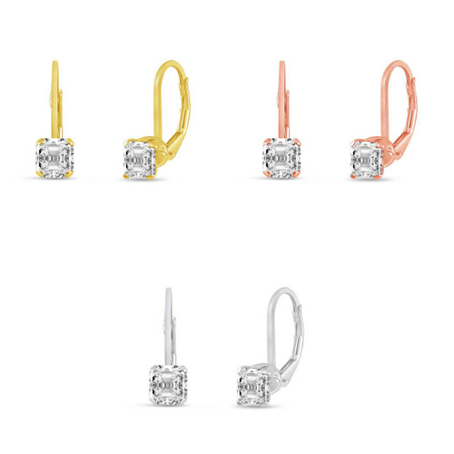 Sterling Silver 4x4mm Asscher Cut Clear White CZ Leverback Earrings