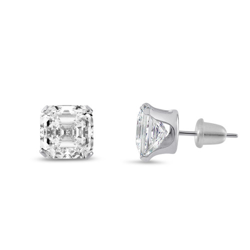 Asscher Cubic Zirconia White Gold Earrings