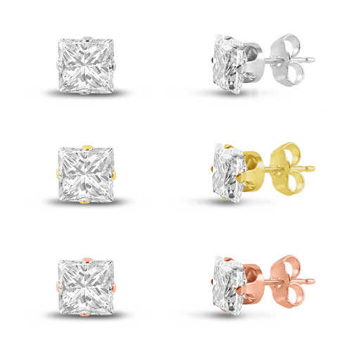 Three Pairs of Rose , 14K Gold Plated & Solid Sterling Silver Stud Earrings Princess Cut 5x5mm White CZ