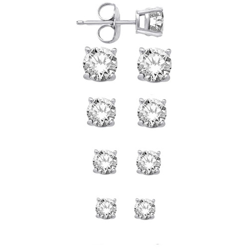 Sterling Silver Round CZ Stud Earrings Set Of Four Sizes - 4mm, 5mm, 6mm, 7mm