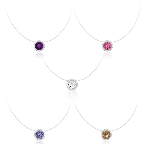 Floating Illusion Round CZ Solitaire Silver Pendant on Clear Invisible Necklace
