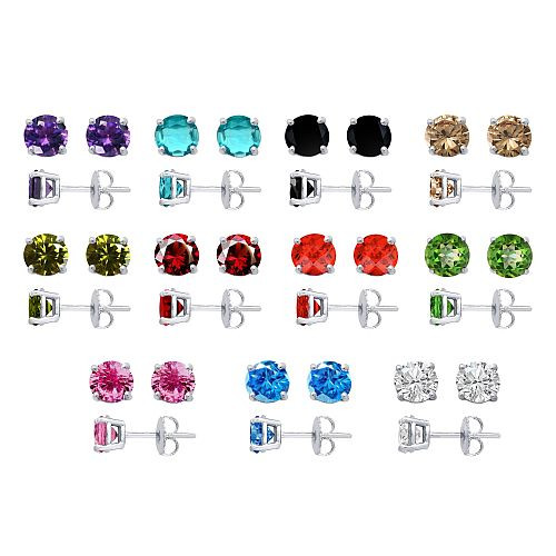 2Ct. Solid Prong Round 4 CZ Stud Earrings Sterling Silver