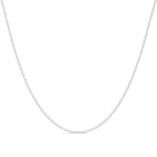 Cable Chain Necklace Sterling Silver Italian 1.3mm Rhodium Plated Nickel Free