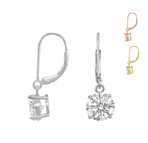 Sterling Silver Leverback Drop Dangling CZ Earrings Round Brilliant Cut. Silver or Gold over Silver