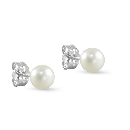 10K White Gold Freshwater Cultured White 4 - 4.5mm Button Pearl Stud Earrings Screw Back Post