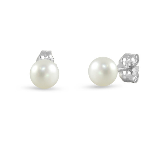 14K White Gold Cultured Freshwater Pearl White 4 - 4.5mm Button Stud Earrings Screw Back