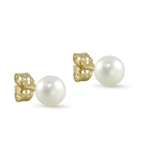 10K Yellow Gold Freshwater Cultured White 5 - 5.5mm Button Pearl Stud Earrings Screw Back Post