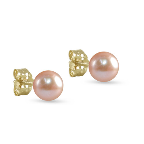 10K Yellow Gold Freshwater Cultured Pink 6 - 6.5mm Button Pearl Stud Earrings Screw Back Post