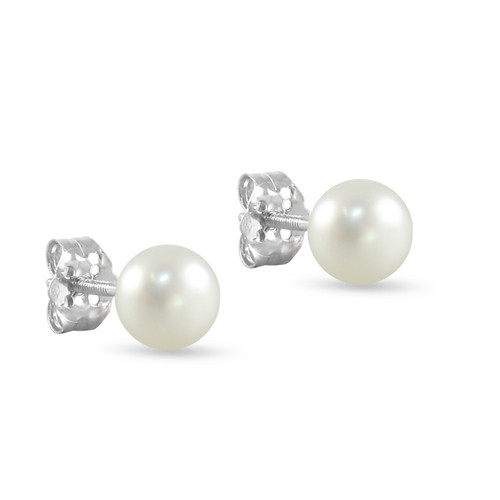10K White Gold Freshwater Cultured White 6 - 6.5mm Button Pearl Stud Earrings Screw Back Post