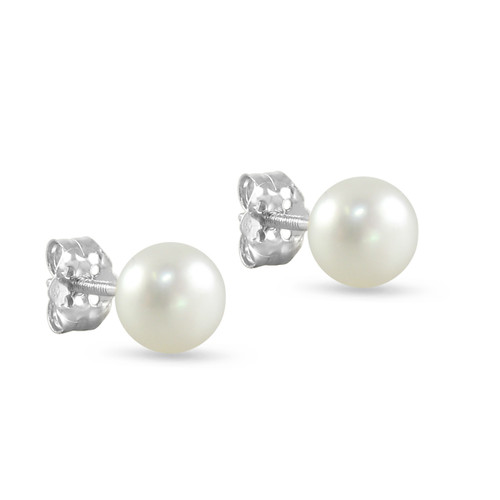 10K White Gold Freshwater Cultured White 7 - 7.5mm Button Pearl Stud Earrings Screw Back Post