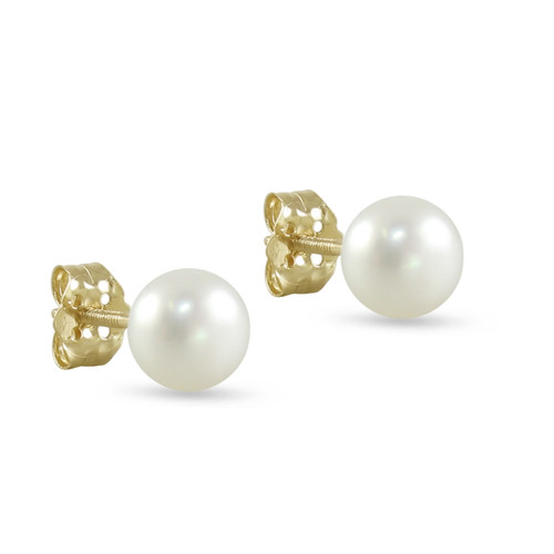 10K Yellow Gold Freshwater Cultured White 7 - 7.5mm Button Pearl Stud Earrings Screw Back Post