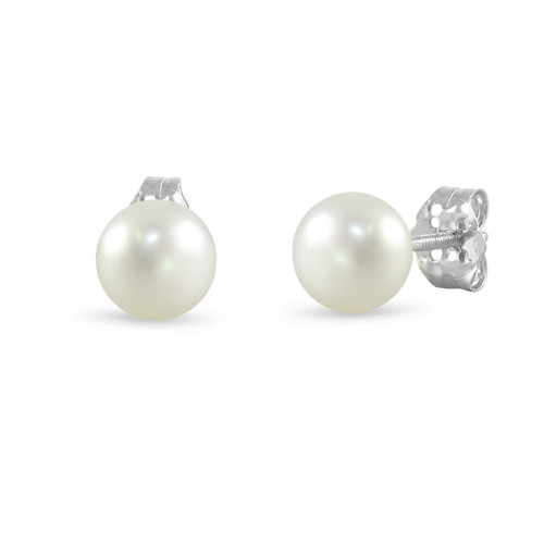 14K White Gold Cultured Freshwater Pearl White 7 - 7.5mm Button Stud Earrings Screw Back