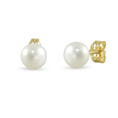 14K Yellow Gold Cultured Freshwater Pearl White 7 - 7.5mm Button Stud Earrings Screw Back