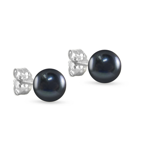 10K White Gold Freshwater Cultured Black Peacock 8 - 8.5mm Button Pearl Stud Earrings Screw Back Post