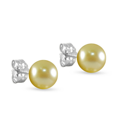 10K White Gold Freshwater Cultured Champagne 8 - 8.5mm Button Pearl Stud Earrings Screw Back Post