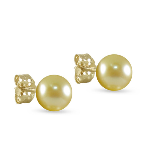 10K Yellow Gold Freshwater Cultured Champagne 8 - 8.5mm Button Pearl Stud Earrings Screw Back Post