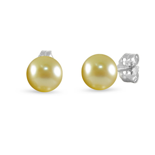 14K White Gold Cultured Freshwater Pearl Champagne 8 - 8.5mm Button Stud Earrings Screw Back