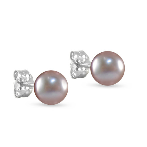 10K White Gold Freshwater Cultured Lavender 8 - 8.5mm Button Pearl Stud Earrings Screw Back Post